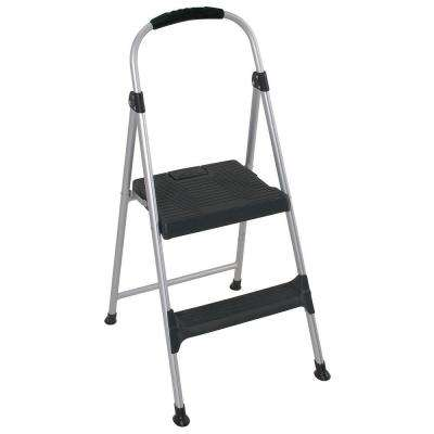 3.18 ft. 2-Step Aluminum Step Stool Ladder with Plastic Steps 225 lb. Load capacity