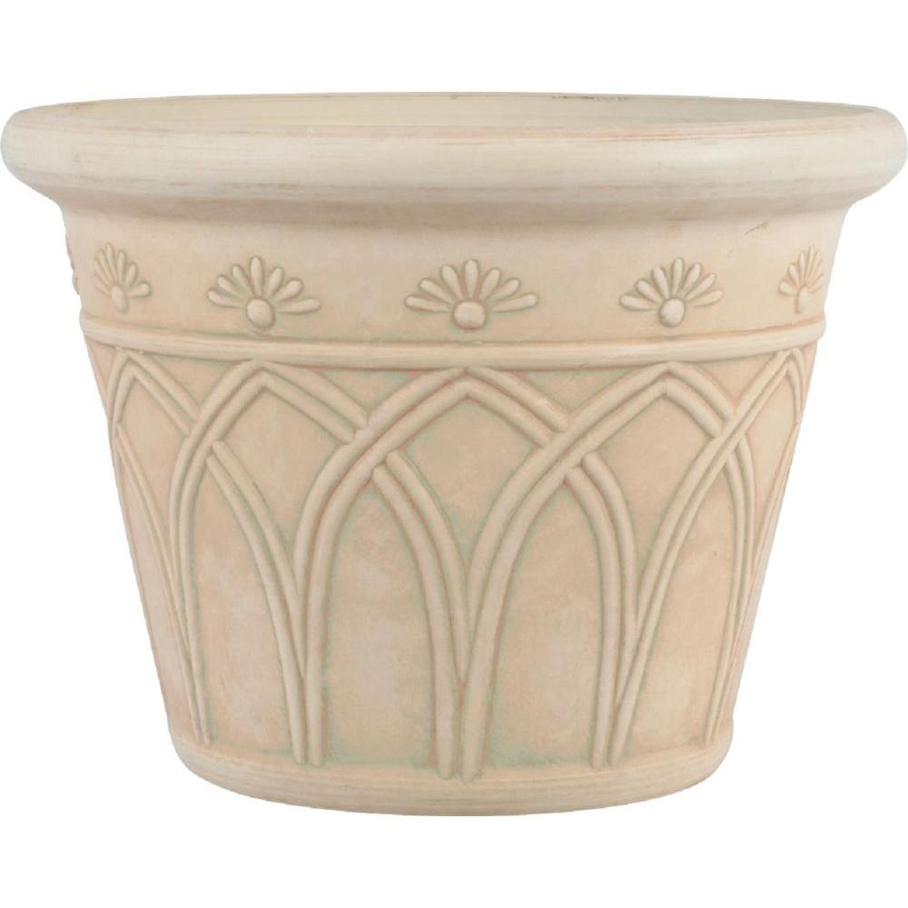 12 in. Round Ivory Arch Plastic Planter