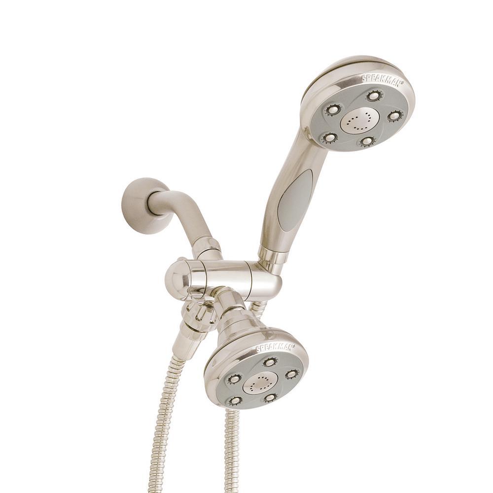 3-spray 3.5 in. High PressureDual Shower Head and Handheld Shower Head in Brushed Nickel