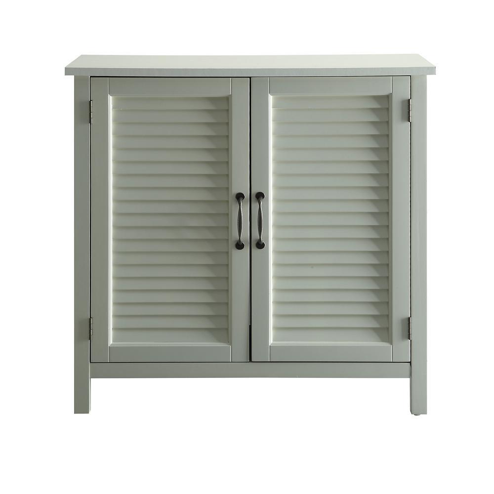 Olivia White Accent Cabinet, 2-Shutter Doors