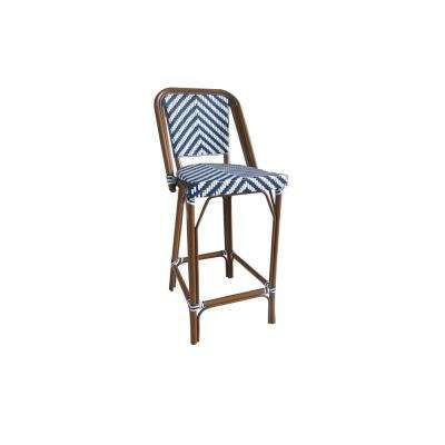 Modern Navy and White Aluminum Stackable Plastic Wicker Bistro Bar Chair Commercial Grade Outdoor Dining Chair