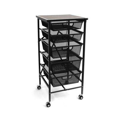 33.2 in. H x 16.5 in. W x 16.3 in. D Wheeled Foldable 5 Steel Drawer Storage Caddy Cart with Wooden Top (4-Pack)