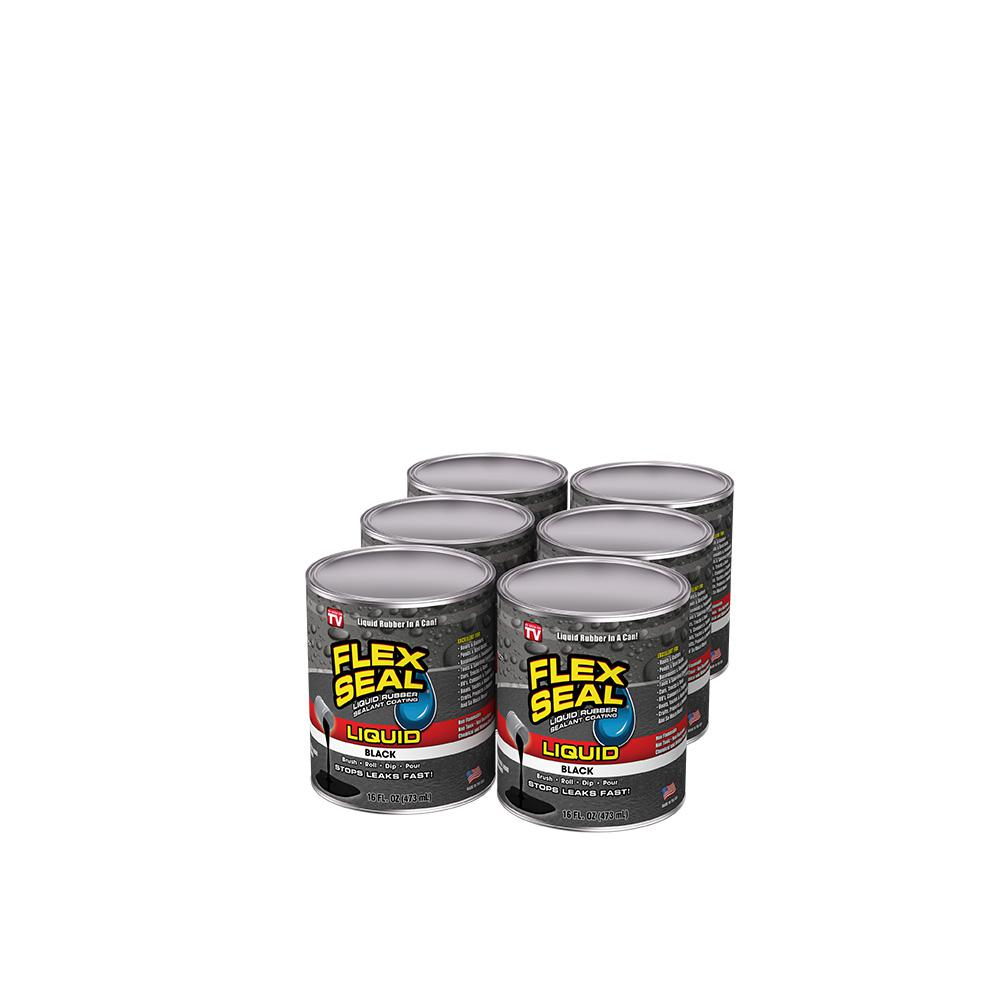 FLEX SEAL FAMILY OF PRODUCTS Flex Seal Liquid Black 1 pt. Liquid Rubber Sealant Coating (6-Piece)