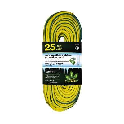 25 ft. 14/3 SJEOW Cold Weather Extension Cord with Lighted End