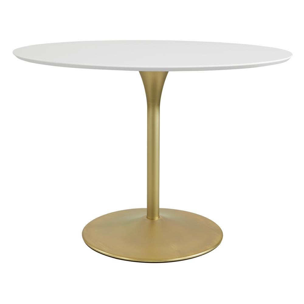 OSP Home Furnishings Flower Dining Table with White Top and Brass Base, White/Brass Perfectly sized, this modern round dining table. The possibilities are endless with the exceptional beauty of the Flower Dining Table from OSP Home Furnishings. This stylish top finish in matte white is paired with a weighted metal base for stability. Color: White/Brass.
