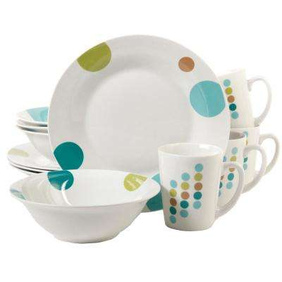 Retro Specks 12-Piece White and Multi Decorated Dinnerware Set