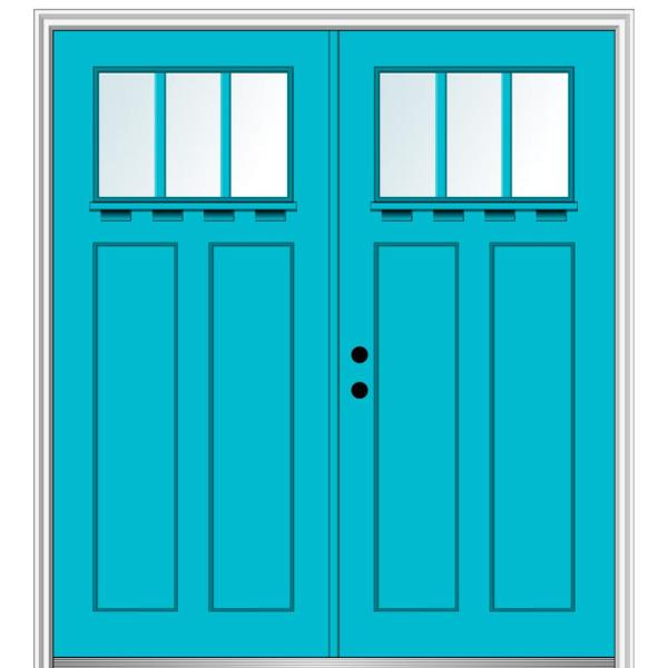 Mmi Door 64 In X 80 In Shaker Right Hand Inswing 3 Lite Clear Low E Painted Fiberglass Smooth Prehung Front Door With Shelf Z028877r The Home Depot