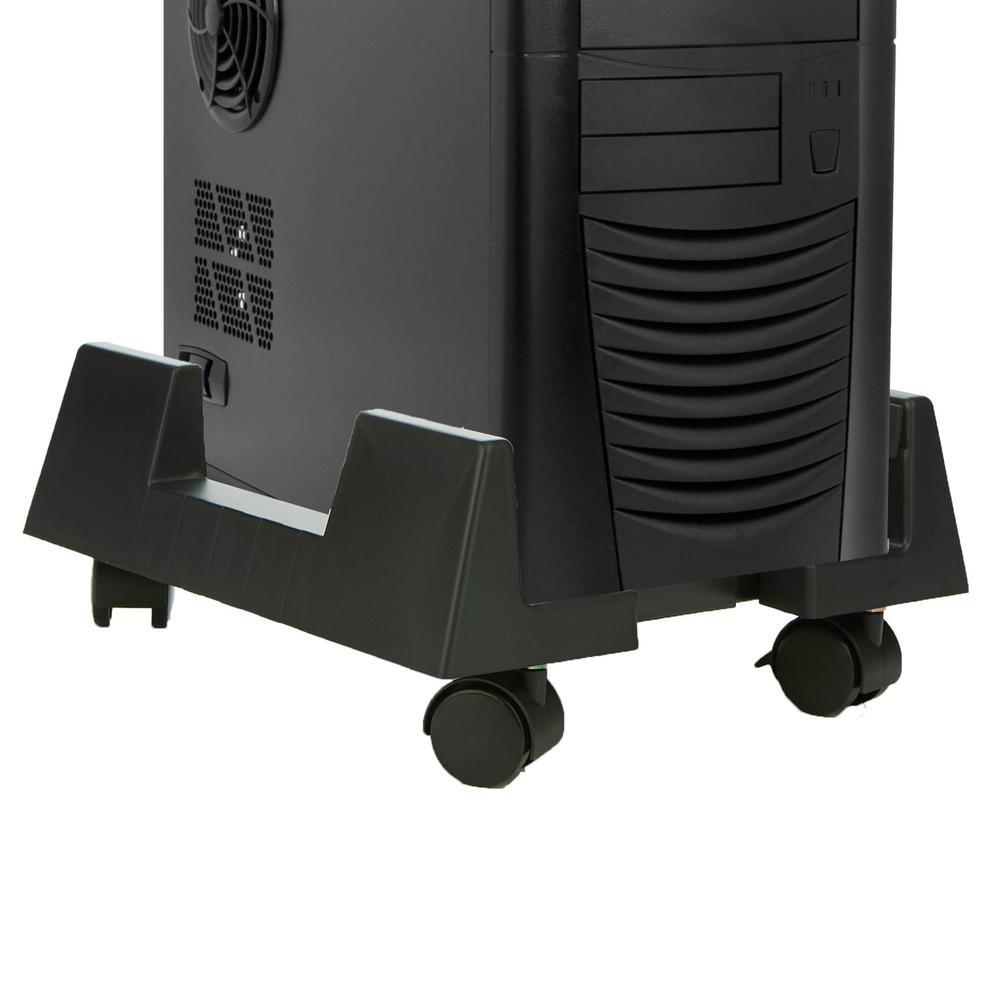 CPU Holder with Lockable Wheels, Computer Tower Storage, Black