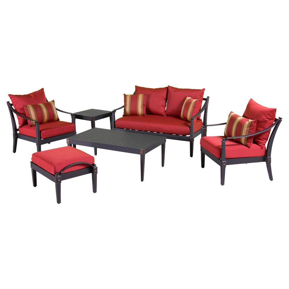 RST Brands Astoria 6-Piece Love and Club Patio Deep Seating Set with Cantina Red Cushions