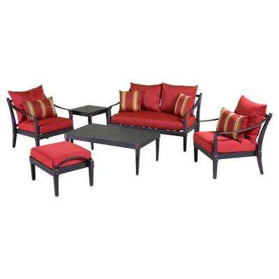Astoria 6-Piece Love and Club Patio Deep Seating Set with Cantina Red Cushions