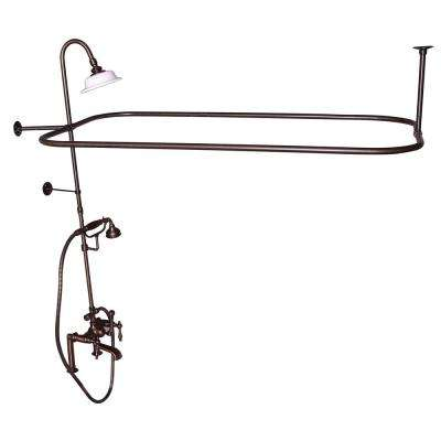 3-Handle Rim Mounted Claw Foot Tub Faucet with Riser, Hand Shower, Shower Head and Shower Rod in Oil Rubbed Bronze