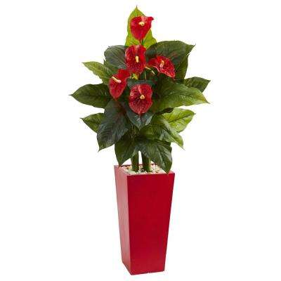 Real Touch 53 in. Indoor Anthurium Artificial Plant in Red Tower Vase