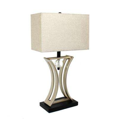 Regency 28.25 in. Brushed Chrome and Black Conference Room Hourglass Shape Pendulum Table Lamp