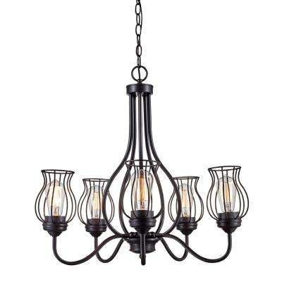 Congress 5-Light Rubbed Oil Bronze Chandelier with Wire Shades