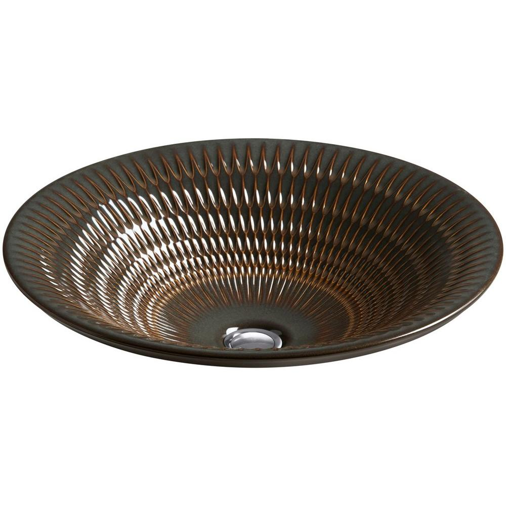 Derring Drop-In Round Vitreous China Bathroom Sink in Bourbon Rutile