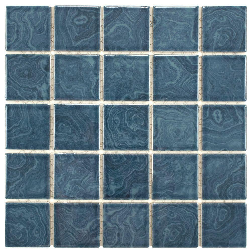 Merola Tile Hudson Penny Round Blue Eye 12 in. x 12-5/8 in. x 5 mm ...