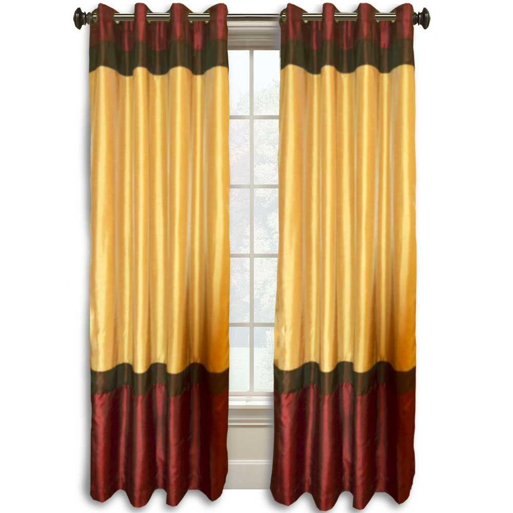 Colorblock 95 in. L Burgundy/Gold Faux Silk Grommet Curtain
