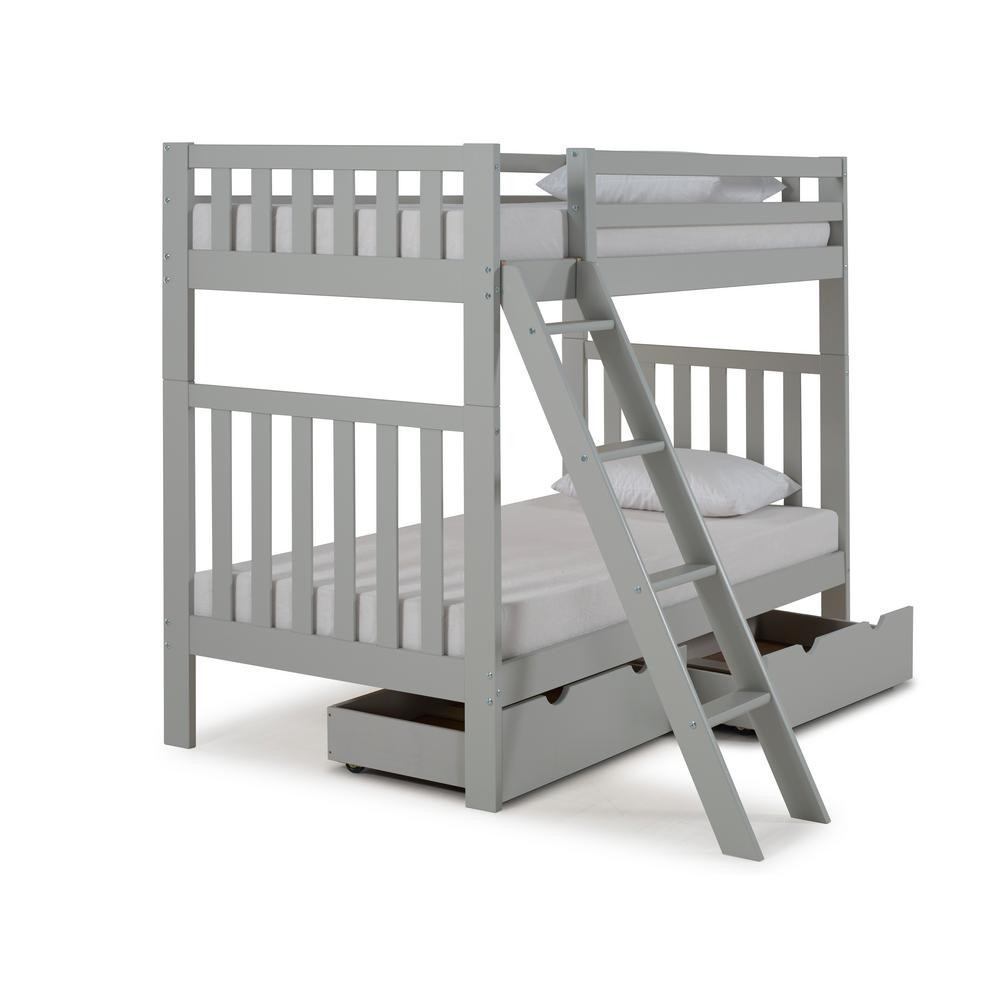 Aurora Dove Gray Twin Over Twin Bunk Bed with Storage Drawers