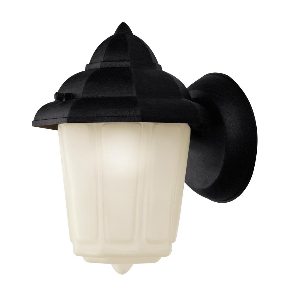 1-Light Outdoor Fluorescent Black Wall Lantern With Frosted Glass