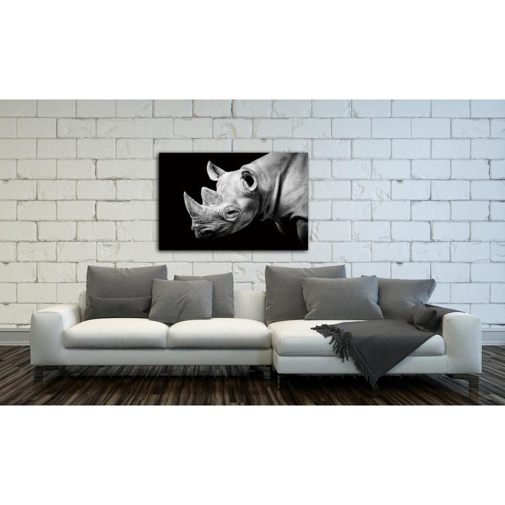 "32 in. x 48 in. ""Rhino"" Photography HiDef Glass Wall Art"