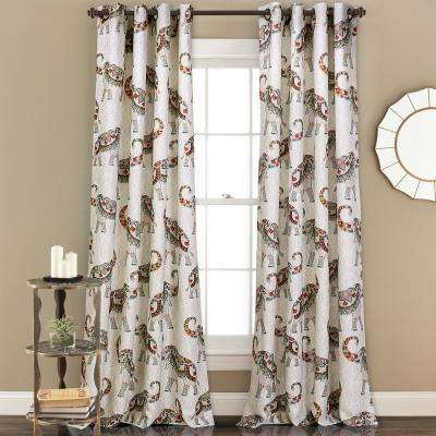 Hati Elephants Window Panels Navy - 84 in. x 52 in.