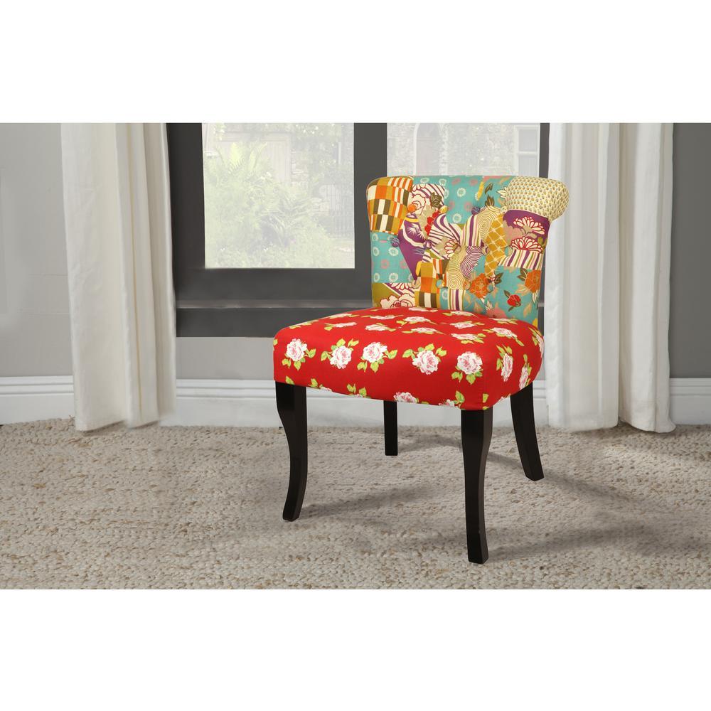 English Garden Patchwork Red Slipper Chair