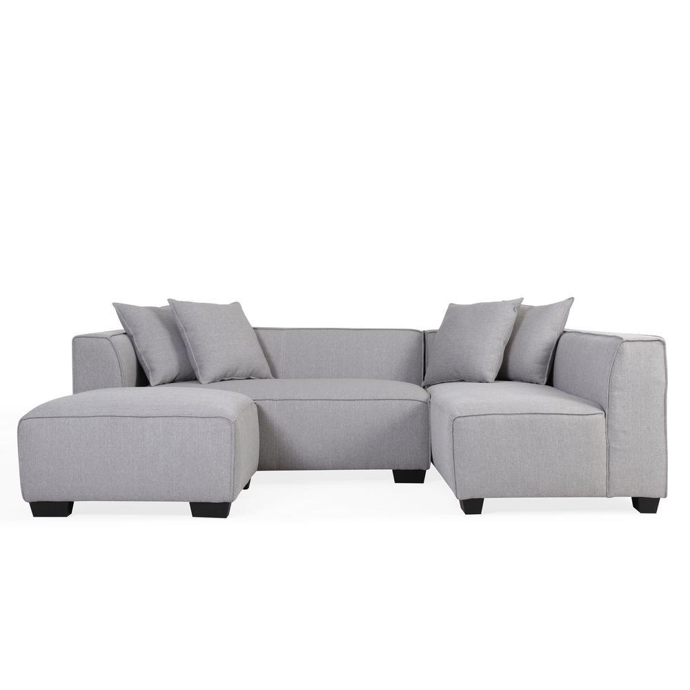Phoenix Dove Gray Linen Sectional Sofa with Ottoman