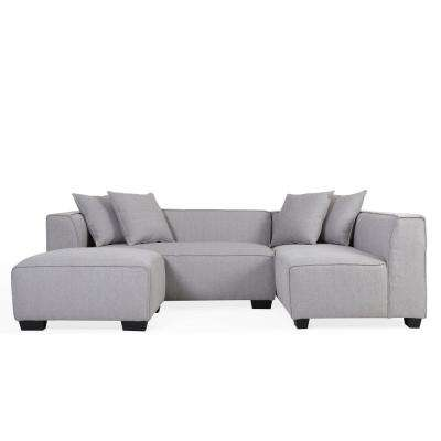 Phoenix Dove Gray Linen Sectional Sofa with Ottoman