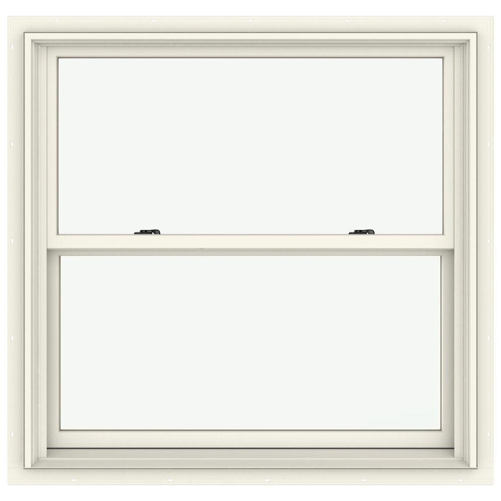 Jeld wen in x 36 in w 2500 series cream painted for Best double hung windows reviews
