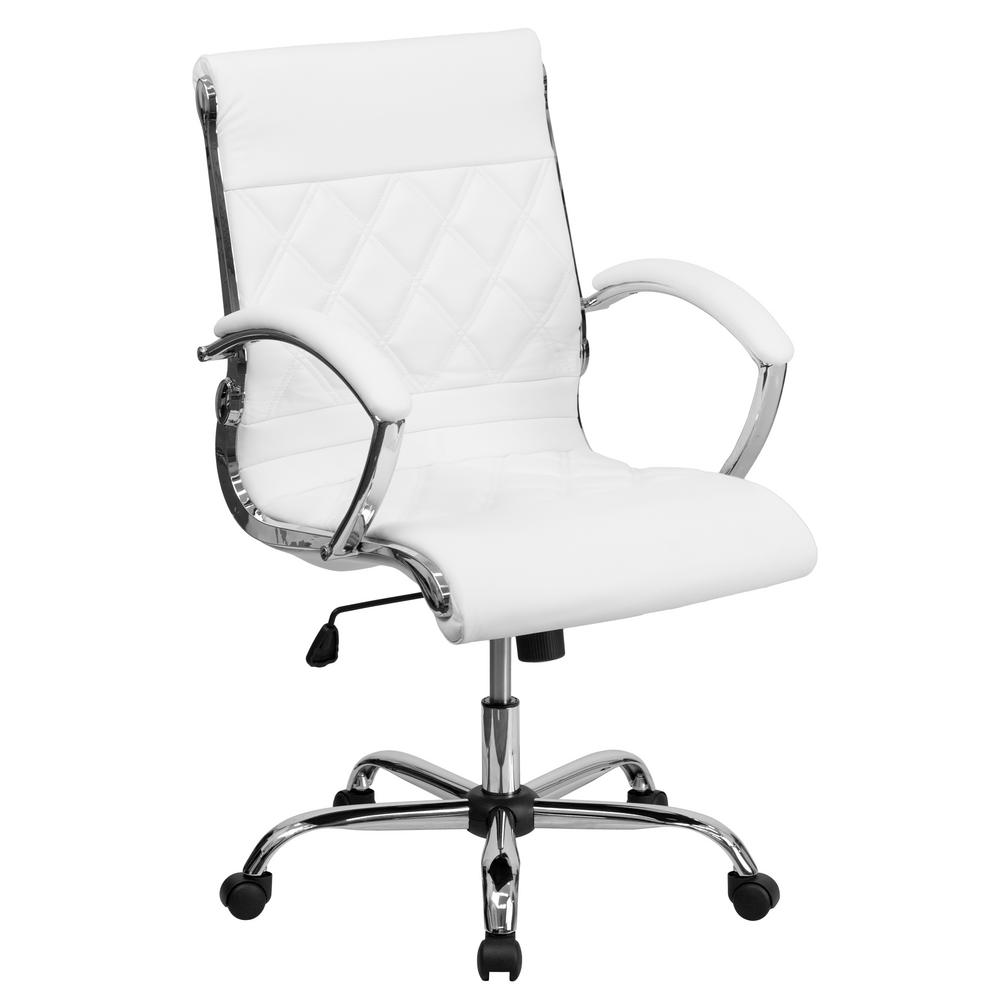Flash Furniture Mid Back Designer White Leather Executive Swivel Office Chair With Chrome Base