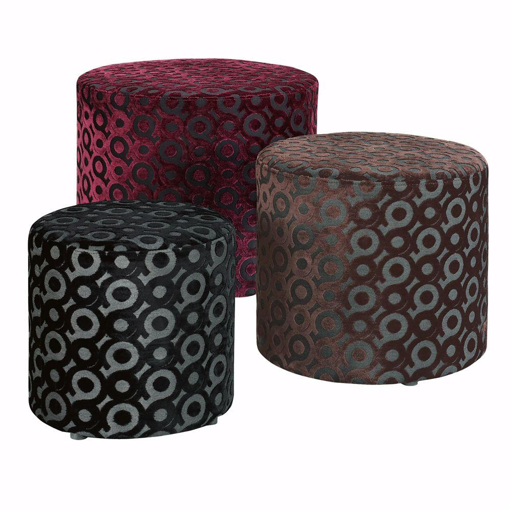 Home Decorators Collection Velvet Circles Trio Ottoman Set