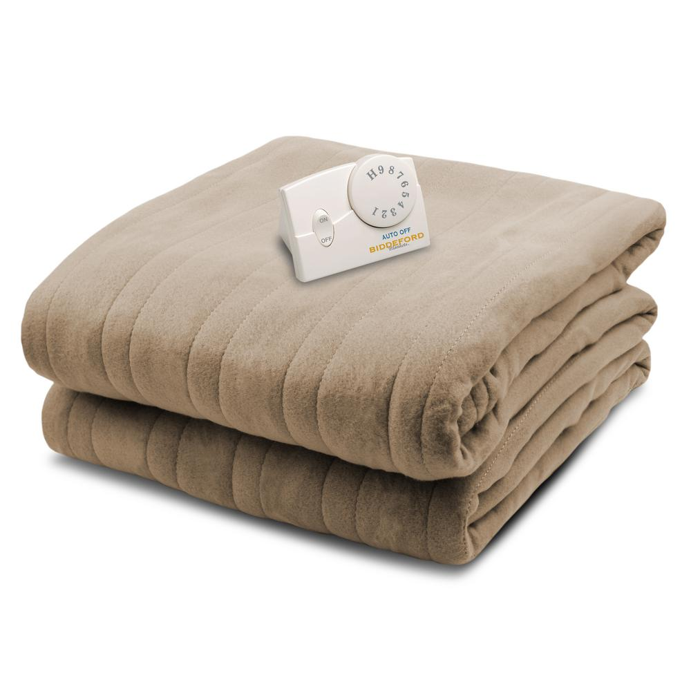 1000 Series Comfort Knit Heated 62 in. x 84 in. Fawn Twin...