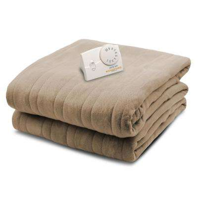 1000 Series Comfort Knit Heated 62 in. x 84 in. Fawn Twin Size Blanket