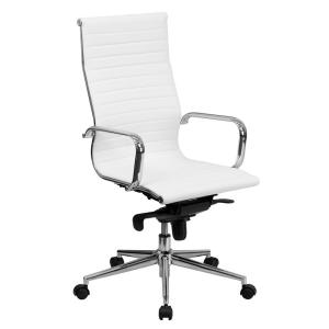 High Back White Ribbed Upholstered Leather Executive Swivel Office Chair