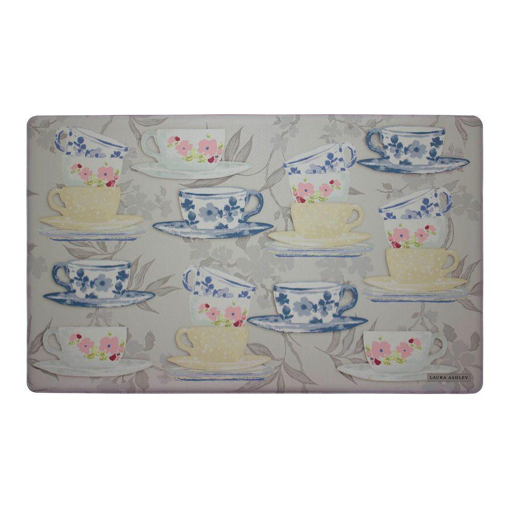 Tea Party Gray 20 in. x 32 in. Memory Foam Kitchen Mat