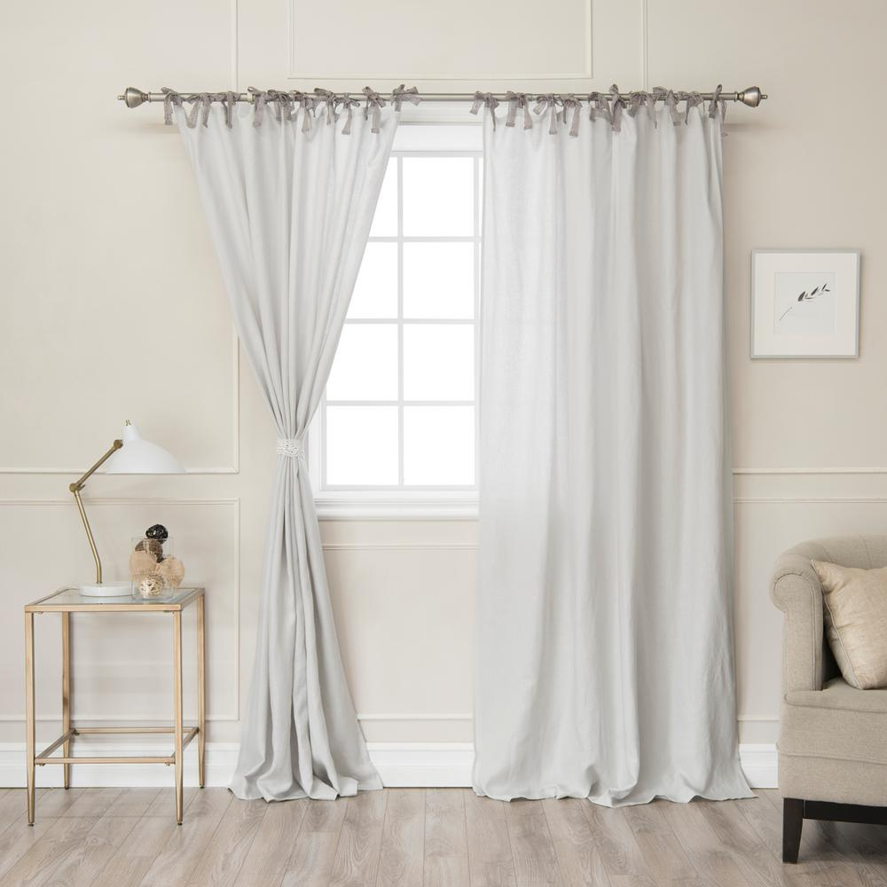 84 in. L Abelia Belgian Flax Linen Lace Tie Top Curtain