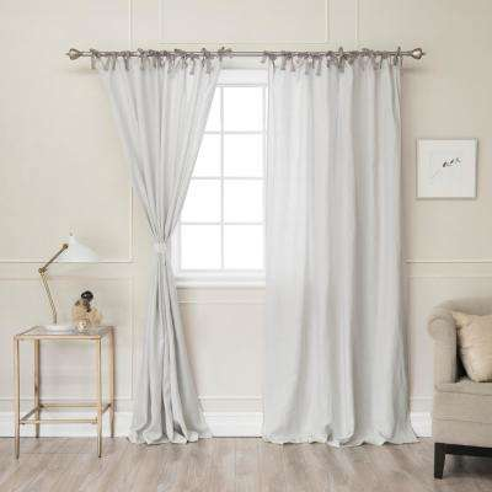 Light Grey 84 in. L Abelia Belgian Flax Linen Lace Tie Top Curtain Panel