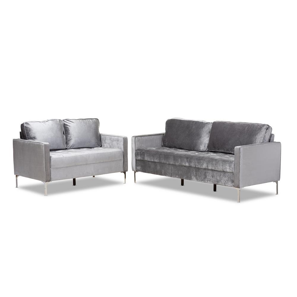 Clara 2-Piece Gray Living Room Set