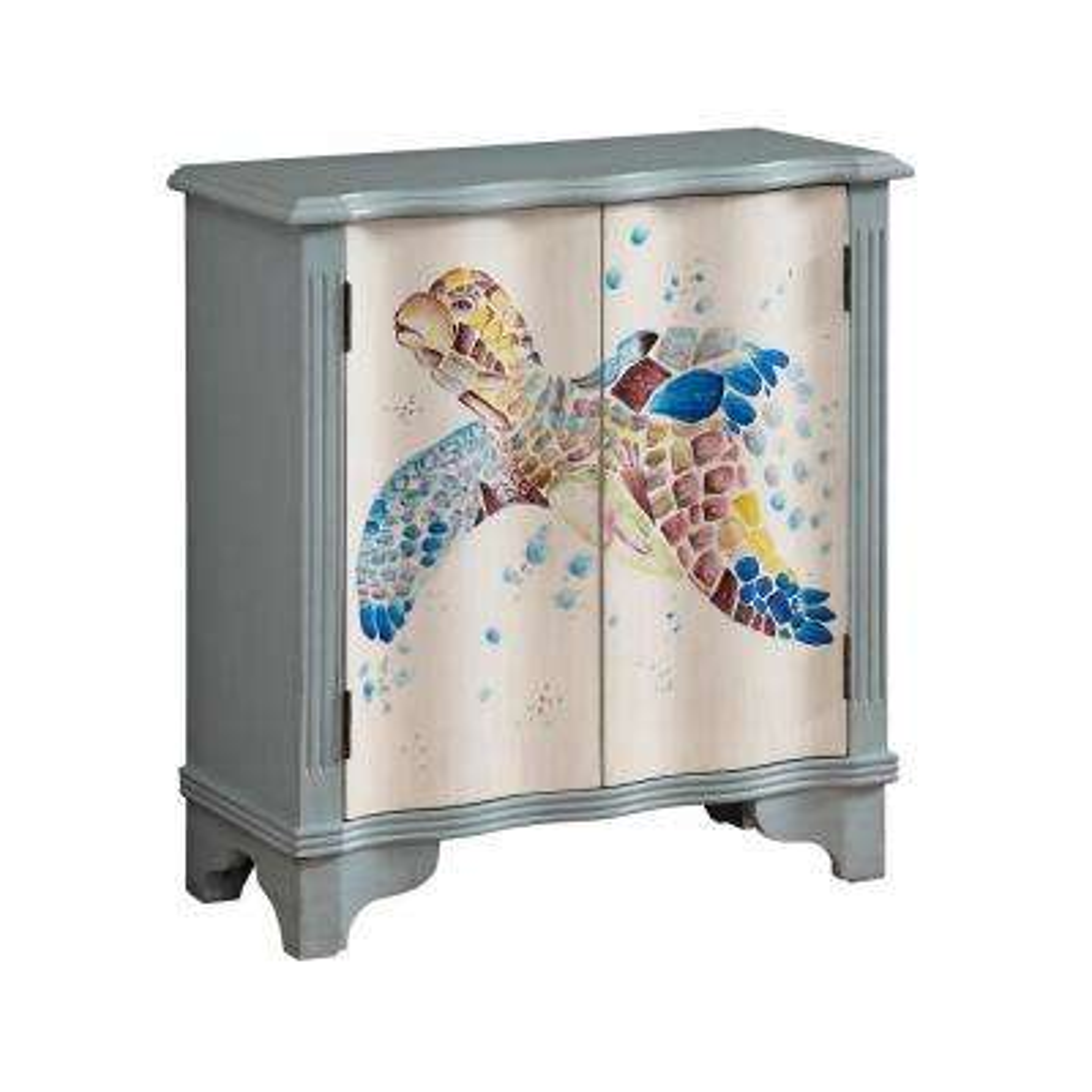 Turtle Bay Blue and Cream 2-Door Cabinet