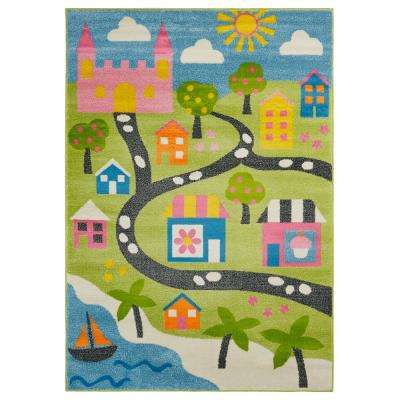 Whimsical Green/Blue 5 ft. x 7 ft. Indoor Area Rug