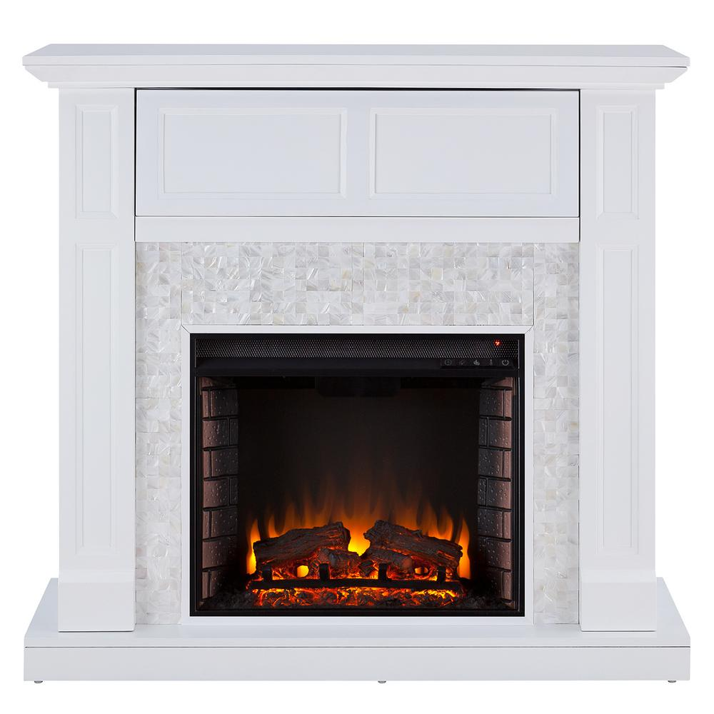 Kristinna 46 in. Tiled Media Electric Fireplace Console in White