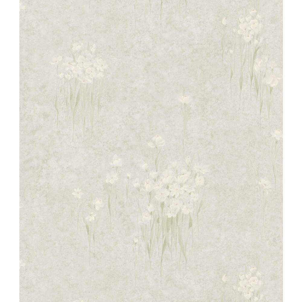 Bath Bath Bath III Gray Iris Floral Wallpaper Sample