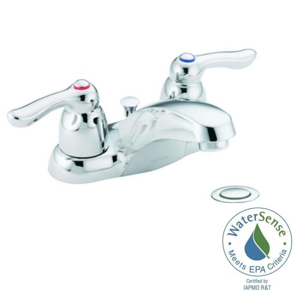Moen Chateau 4 In Centerset 2 Handle Low Arc Bathroom Faucet In Chrome With Drain Assembly 4925 The Home Depot