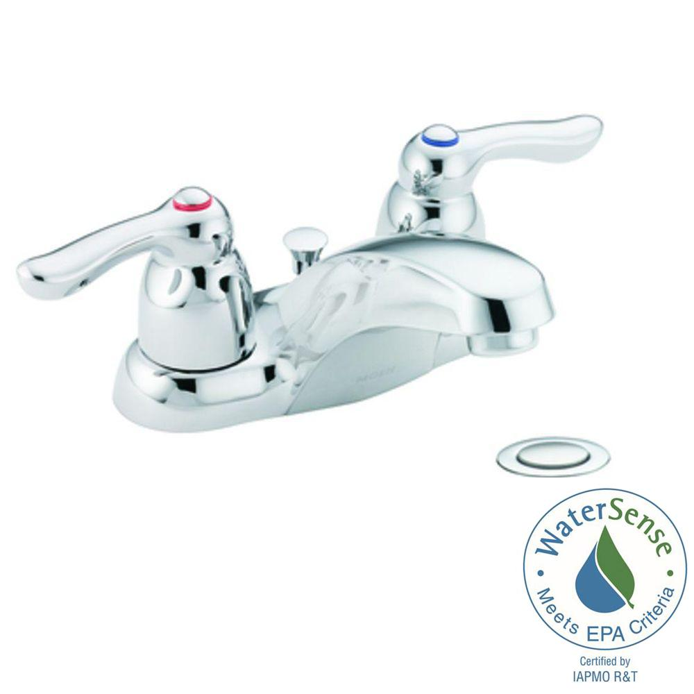 MOEN Chateau 4 in. Centerset 2-Handle Low Arc Bathroom Faucet in ...