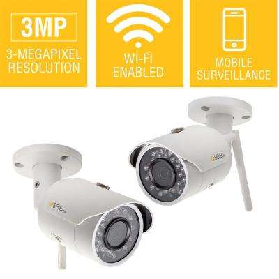 3MP Wi-Fi Indoor/Outdoor Bullet Security Surveillance Camera with 16GB SD Card (2-Pack)