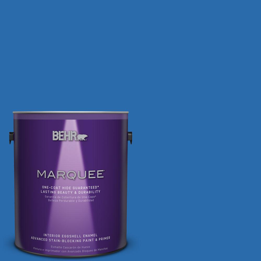 1 gal. #MQ4-24 Electric Blue One-Coat Hide Eggshell Enamel Interior Paint