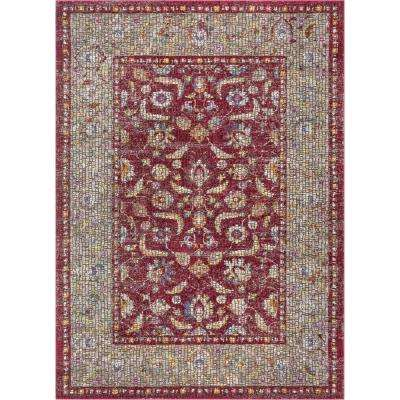 Allure Vanessa Red Vintage Oriental Persian Mosaic 3 ft. 11 in. x 5 ft. 3 in. Area Rug