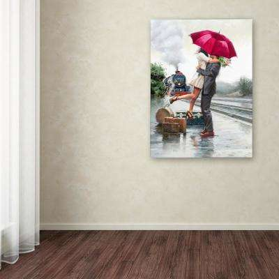 """32 in. x 24 in. """"Couple on Train Station"""" by The Macneil Studio Printed Canvas Wall Art"""