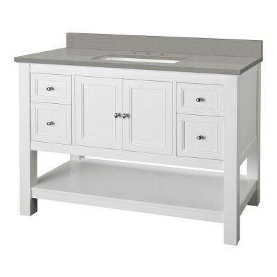 Gazette 49 in. W x 22 in. D Vanity Cabinet in White with Engineered Quartz Vanity Top in Sterling Grey with White Basin