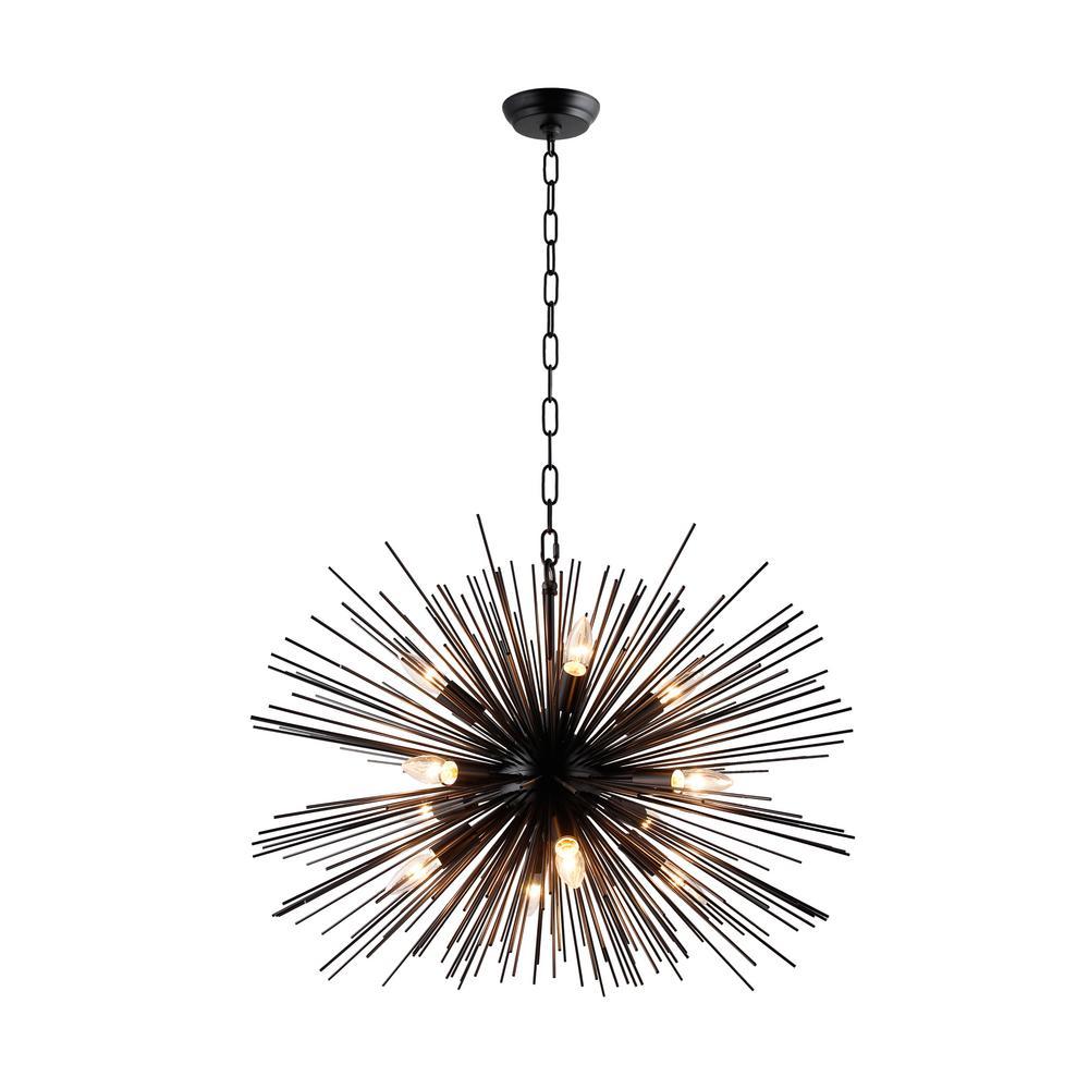 12-Light Black Sputnik Chandelier